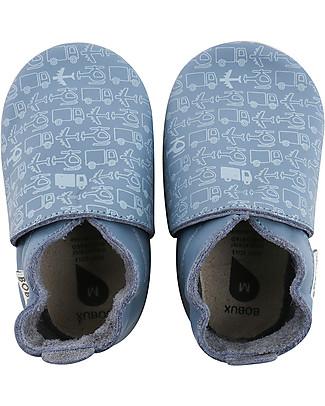 Bobux Scarpina Soft Sole, Blu + Veicoli - La cosa migliore dopo i piedi scalzi! Scarpe