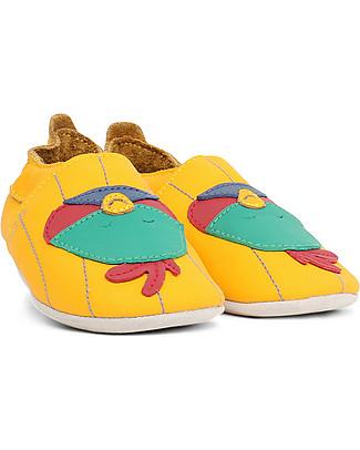 Bobux Scarpina Soft Sole, Giallo con Uccellino - La cosa migliore dopo i piedi scalzi! Soft Sole Bobux