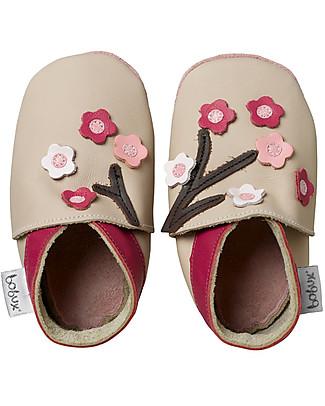 Bobux Scarpina Soft Sole Grande (2-6 anni), Beige con Fiorellini – La cosa migliore dopo i piedi scalzi! Scarpe