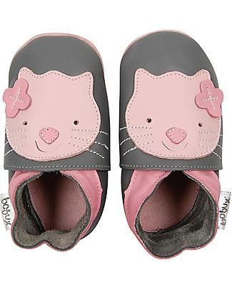 Bobux Scarpina Soft Sole Grande (2-6 anni), Grigio con Gattino – La cosa migliore dopo i piedi scalzi! Scarpe