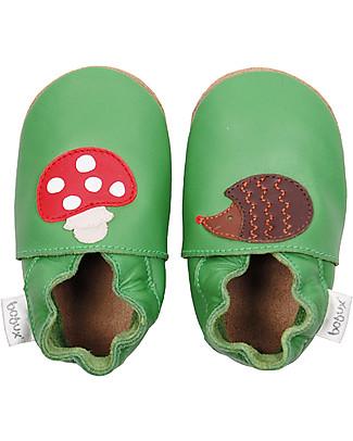 Bobux Scarpina Soft Sole Grande (3-6 anni), Verde con Riccio e Funghetto – La cosa migliore dopo i piedi scalzi! null