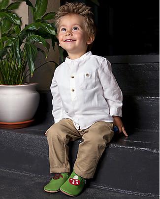 Bobux Scarpina Soft Sole Grande (3-6 anni), Verde con Riccio e Funghetto – La cosa migliore dopo i piedi scalzi! Scarpe