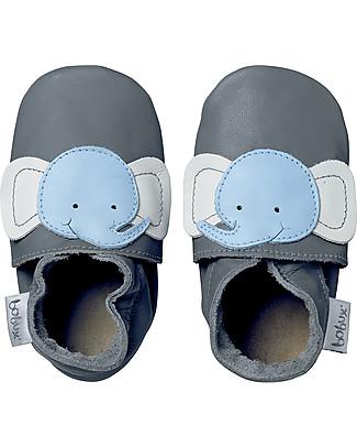 Bobux Scarpina Soft Sole, Grigia con Elefantino - La cosa migliore dopo i piedi scalzi! Scarpe