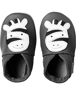 Bobux Scarpina Soft Sole, Grigia con Zebra - La cosa migliore dopo i piedi scalzi! Scarpe