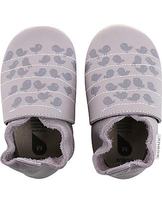Bobux Scarpina Soft Sole, Lilla con Uccellini – La cosa migliore dopo i piedi scalzi! Scarpe