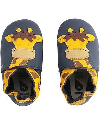 Bobux Scarpina Soft Sole, Navy con Giraffa - La cosa migliore dopo i piedi scalzi! Soft Sole Bobux