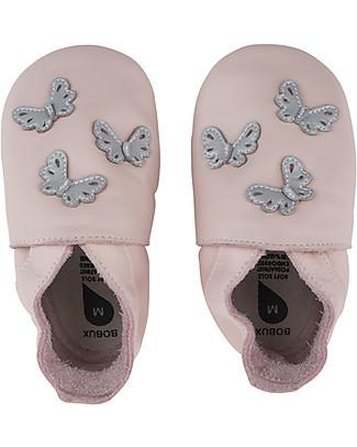 Bobux Scarpina Soft Sole, Rosa-chiaro con Farfalline - La cosa migliore dopo i piedi scalzi! Scarpe