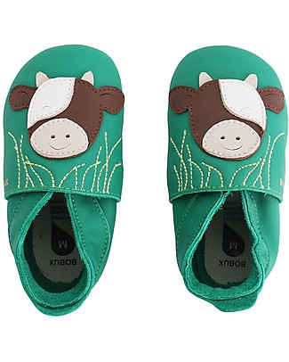Bobux Scarpina Soft Sole, Smeraldo con Mucca - La cosa migliore dopo i piedi scalzi! Scarpe
