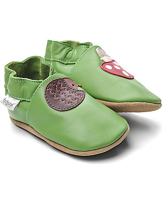 Bobux Scarpina Soft Sole, Verde con Riccio e Funghetto - La cosa migliore dopo i piedi scalzi! Scarpe
