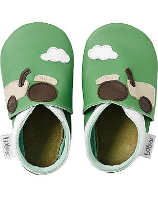 Bobux Scarpina Soft Sole, Verde con Trattore - La cosa migliore dopo i piedi scalzi!  Scarpe