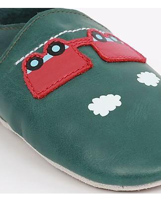 Bobux Scarpina Soft Sole, Verde Foresta con Treno e Carro - La cosa migliore dopo i piedi scalzi! Soft Sole Bobux