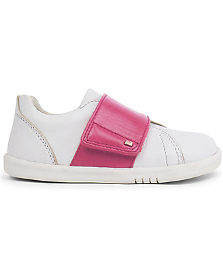 Bobux Scarpina Step-Up Boston, White/Rosa - Super flessibile, perfetta per i primi passi! Scarpe