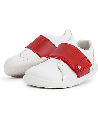 Bobux Scarpina Step-Up Boston, White/Rosso - Super flessibile, perfetta per i primi passi! Scarpe