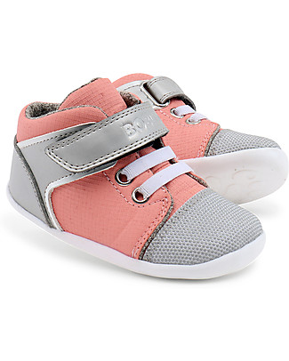 Bobux Step-U Beat Hi-Top, Pink + Silver - Ultra flexible, perfect for first steps! Shoes