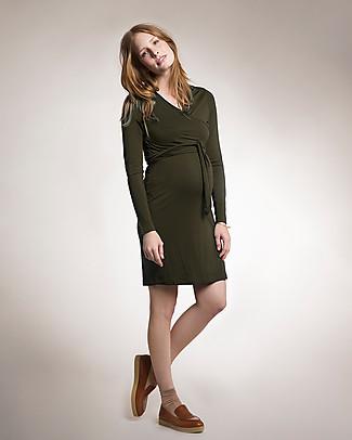 Boob Abito Premaman e Allattamento Top Incrociato in Naturale Fibra di Eucalipto- verde oliva Vestiti