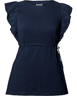 Boob Alicia, Top Premaman e Allattamento, Blu Notte - 100% Cotone Bio T-Shirt e Canotte