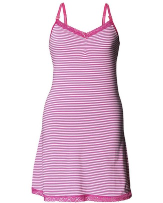 Boob Camicia da Notte Premaman e Allattamento - Righe Bianco/Rosa Fucsia - Cotone Bio Camicie Da Notte