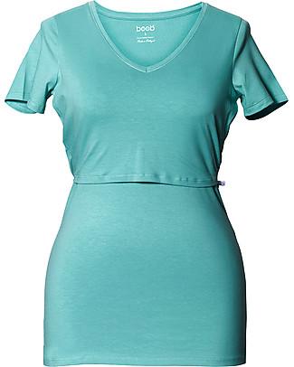 Boob Maglia a V Premaman e Allattamento, Azzurro - Cotone Organico T-Shirt e Canotte