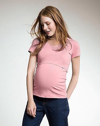Boob Maglia a V Premaman e Allattamento Cotone Organico - rosa cipria Top