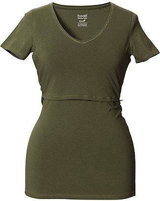 Boob Maglia a V Premaman e Allattamento, Verde Militare - Cotone Organico T-Shirt e Canotte