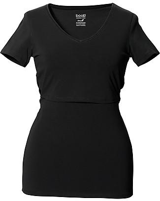 Boob T-shirt Premaman e Allattamento Scollo a V, Nero - Cotone Organico T-Shirt e Canotte