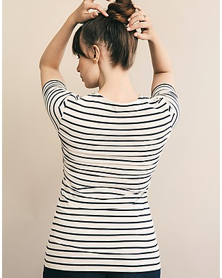 Boob Top Premaman e Allattamento Simone - Righe Tofu e Blu - Cotone Bio  T-Shirt e Canotte