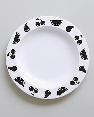 Buddy and Bear Piatto in Plastica, Fruit Friends, Nero – 23 cm diametro, senza BPA! Piatti e Scodelle
