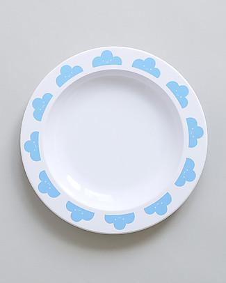 Buddy and Bear Piatto in Plastica, Happy Clouds, Celeste – 23 cm diametro, senza BPA! Piatti e Scodelle
