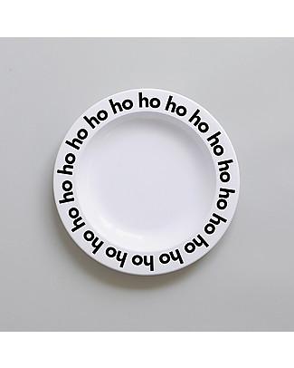 Buddy and Bear Piatto in Plastica, Ho Ho Ho, Nero - 23 cm diametro, senza BPA! Piatti e Scodelle
