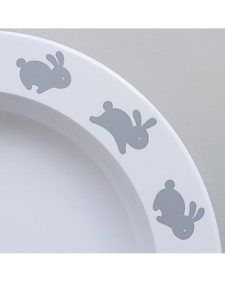Buddy and Bear Piatto in Plastica, Hoppy Bunny, Grigio – 23 cm diametro, senza BPA! Piatti e Scodelle