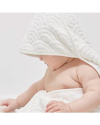 Camcam Copenhagen Asciugamano Baby con Cappuccio 80 x 80 cm, Bianco Panna - 100% cotone bio Accappatoi e Asciugamani