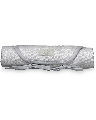 Camcam Copenhagen Fasciatoio Portatile Trapuntato 45 x 65 cm, Grey Wave – Cotone Bio Fasciatoi Da Viaggio