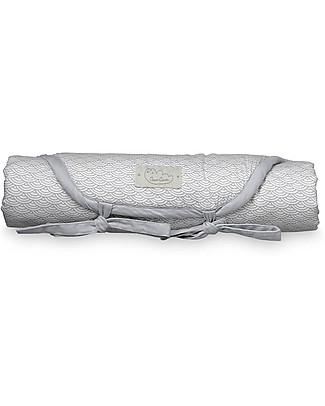 Camcam Copenhagen Fasciatoio Portatile Trapuntato 45 x 65 cm, Grey Wave - Cotone Bio Fasciatoi Da Viaggio