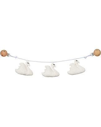 Camcam Copenhagen Gioco per Carrozzina con Cigni 56 x 10 cm, Bianco Panna – Cotone bio Sonagli