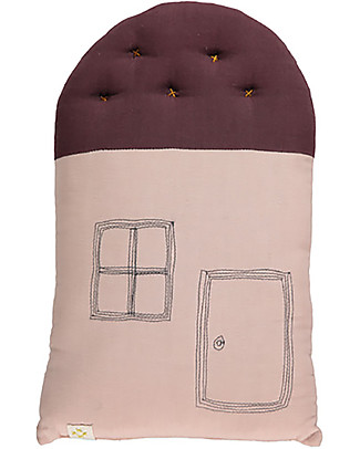 Camomile London Cuscino Small House, Rosa/Vinaccia, 24 x 38 cm – Ottimo come idea regalo! Cuscini Arredo