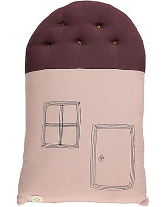 Camomile London Cuscino Small House, Rosa/Vinaccia, 24 x 38 cm – Ottimo come idea regalo! Cuscini Arredo