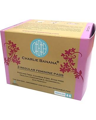 Charlie Banana Pacco da 3 Assorbenti Lavabili Donna Regular, Cotton Bliss Assorbenti e Salvaslip