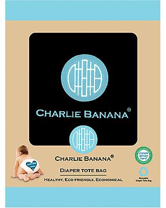Charlie Banana Tote Bag, Contenitore per Pannolini Lavabili, Nero/Blu – Previene i cattivi odori e le fuoriuscite! Pannolini Tutti In Uno