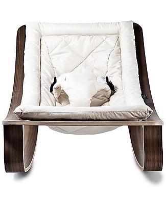 Charlie Crane Sdraietta LEVO in Legno di Noce - Bianco - Design Senza Tempo & Eco-Friendly! Sdraiette