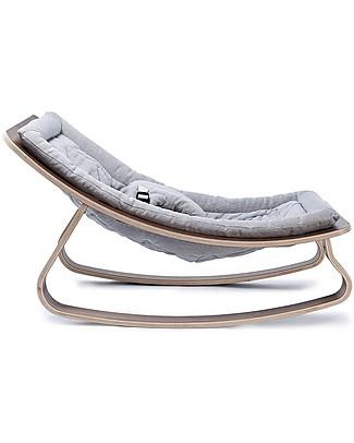 Charlie Crane Sdraietta LEVO in Legno di Noce - Grigio Chiaro - Design Senza Tempo & Eco-Friendly! Sdraiette