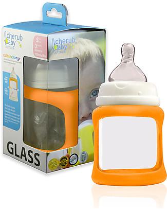 Cherub Baby Biberon Wide Neck in Vetro 150 ml, Cambia Colore, Arancione - Anti-colica, tettarella 0-3 mesi Biberon In Vetro