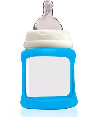 Cherub Baby Biberon Wide Neck in Vetro 150 ml, Cambia Colore, Azzurro - Anti-colica, tettarella 0-3 mesi Biberon In Vetro