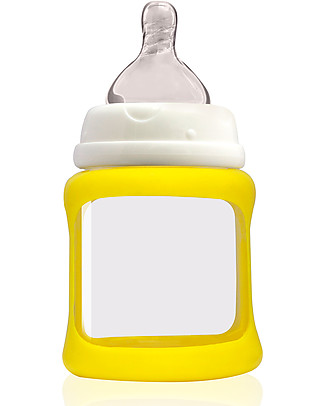 Cherub Baby Biberon Wide Neck in Vetro 150 ml, Cambia Colore, Giallo – Anti-colica, tettarella 0-3 mesi Biberon In Vetro
