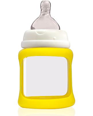Cherub Baby Biberon Wide Neck in Vetro 150 ml, Cambia Colore, Giallo - Anti-colica, tettarella 0-3 mesi Biberon In Vetro
