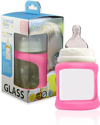 Cherub Baby Biberon Wide Neck in Vetro 150 ml, Cambia Colore, Rosa – Anti-colica, tettarella 0-3 mesi Biberon In Vetro