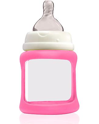 Cherub Baby Biberon Wide Neck in Vetro 150 ml, Cambia Colore, Rosa - Anti-colica, tettarella 0-3 mesi Biberon In Vetro