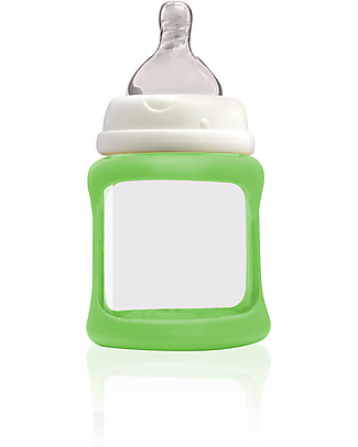 Cherub Baby Biberon Wide Neck in Vetro 150 ml, Cambia Colore, Verde – Anti-colica, tettarella 0-3 mesi Biberon In Vetro