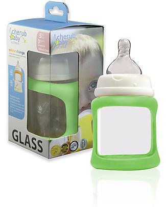 Cherub Baby Biberon Wide Neck in Vetro 150 ml, Cambia Colore, Verde - Anti-colica, tettarella 0-3 mesi Biberon In Vetro