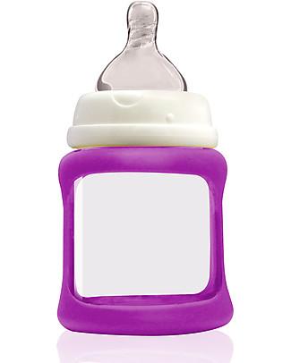 Cherub Baby Biberon Wide Neck in Vetro 150 ml, Cambia Colore, Viola - Anti-colica, tettarella 0-3 mesi Biberon In Vetro