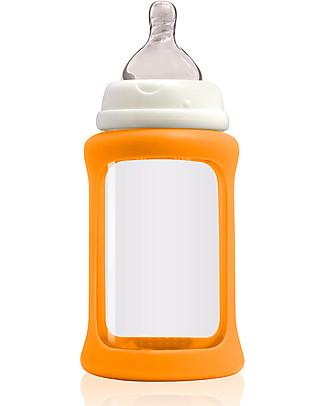 Cherub Baby Biberon Wide Neck in Vetro 240 ml, Cambia Colore, Arancione - Anti-colica, tettarella 3-6 mesi Biberon In Vetro